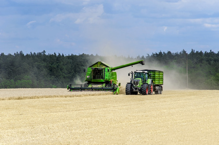 harvester: harvester and tractor on the field