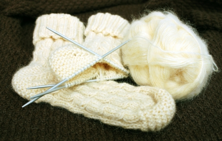 Socks knitted from white woolen yarn on a knitted fabric  background photo