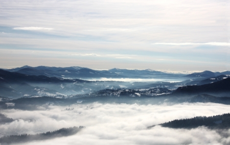 Winter in Carpathians. Mountain landscape . photo