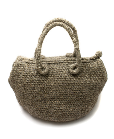Beautiful gray knitted woman handbag  photo
