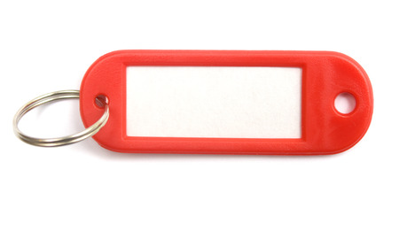 Blank red tag in isolated white.  photo