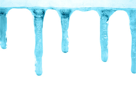 thaw: Blue icicles on white background Stock Photo