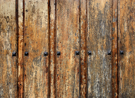 meta: Old wood background with metal rivets Stock Photo