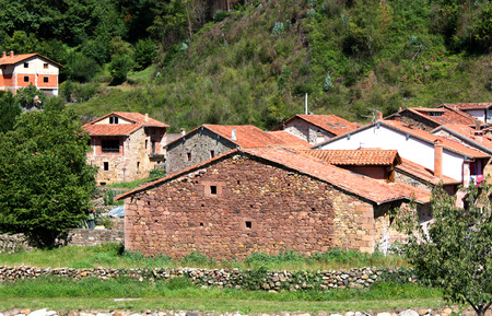cantabria: Typical old village of Cantabria, Spain. Summer, top view.