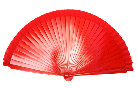 red hand: Red hand fan isolated on white background.