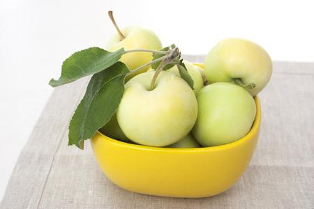 Apples on a linen napkin background Stok Fotoğraf