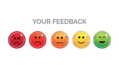 A your feedback emoji on colorful background. Çizim