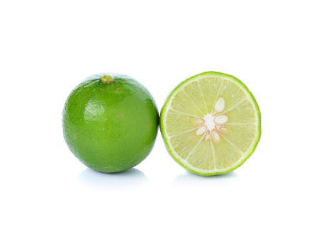 lime and slice, Isolated on white background 스톡 콘텐츠