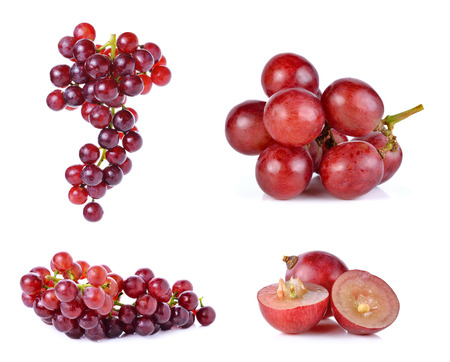 purple red grapes: Set of grapes isolated on over white background. Stock Photo