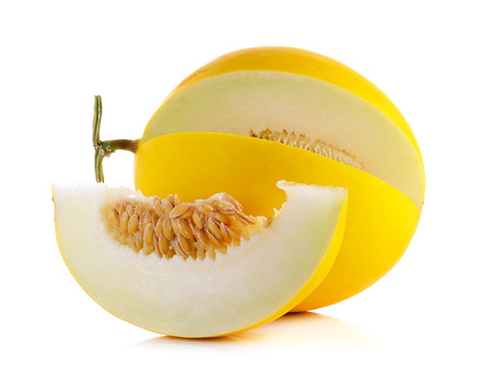 Yellow cantaloupe isolated on the white background.