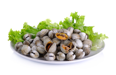 Boiled cockles with lettuce isolated on white background.