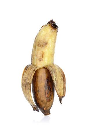 bad banana: Old banana isolated on the white background.