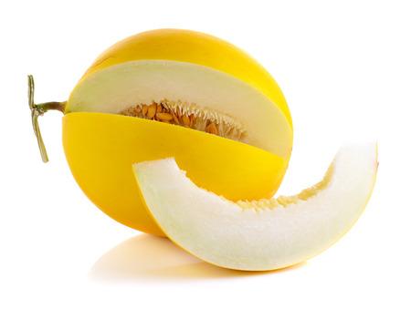 GLOD: Yellow cantaloupe isolated on the white background.