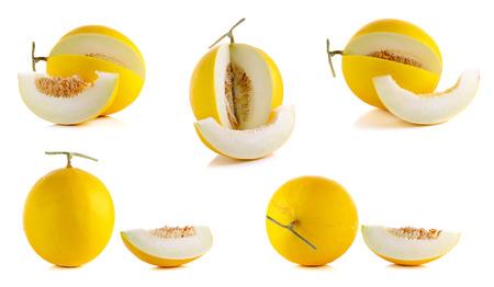 Yellow cantaloupe isolated on the white background.