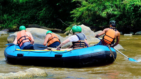inflatable boat: The traveler whitewater with Inflatable Boat at Chiang Mai, Thailand. Stock Photo