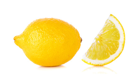 organic lemon: Yellow Lemon isolated on the white background.