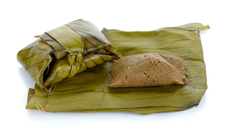 slatternly: steam soybean with banana leaf isolated on white ,Northern of Thailand food.