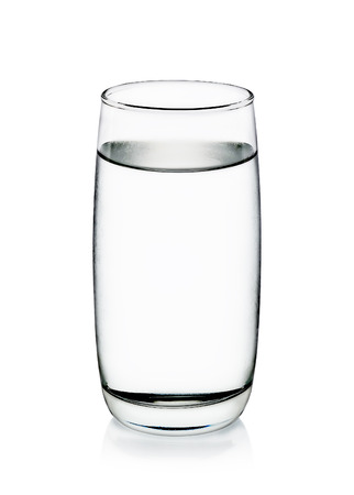 Cool water with glass isolated on the white background.