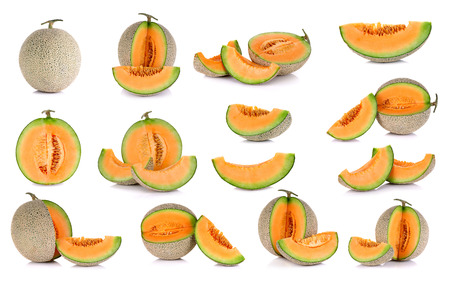 Collection cantaloupe melon fruit isolated on the white background. Stock Photo