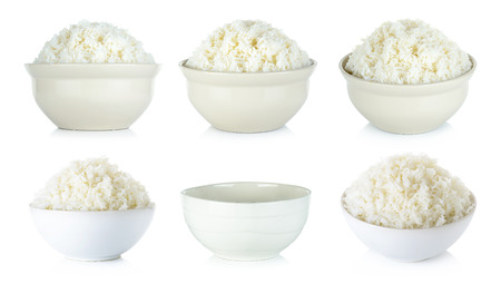 Collection Rice with bowl isolated on the white background.