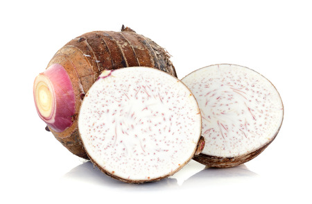 tropical fruits: Close up taro isolated on the white background. Stock Photo