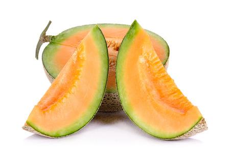 melon fruit: Melon fruit isolated on the white background. Stock Photo
