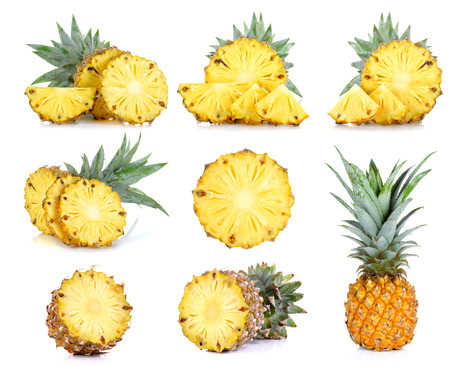 Collection Pineapple isolated on the white background.