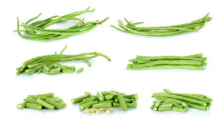 long beans: Collection Long bean isolated on the white background.
