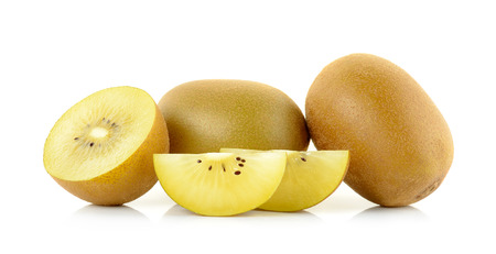 Yellow gold kiwi fruit isolated on the white background.