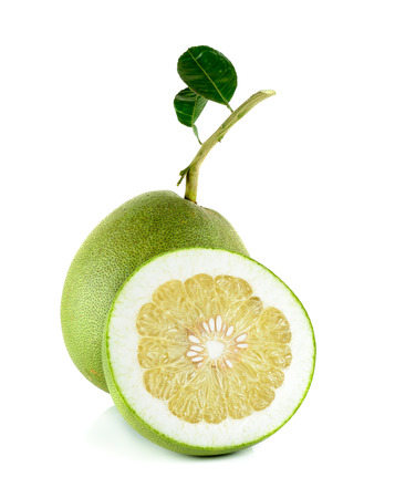 Fresh pomelo isolated on the white background. 스톡 콘텐츠