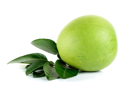 pummelo: Fresh pomelo isolated on the white background. Stock Photo