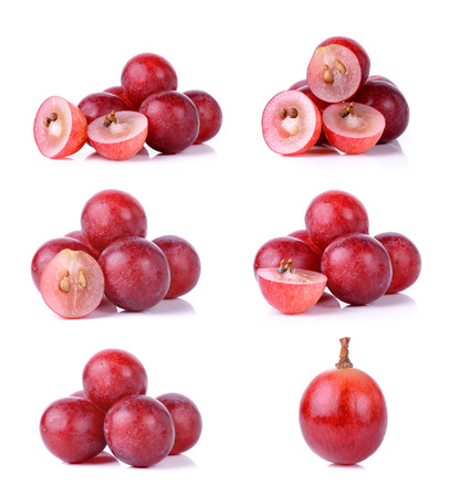 Set of grapes isolated on over white background . Archivio Fotografico