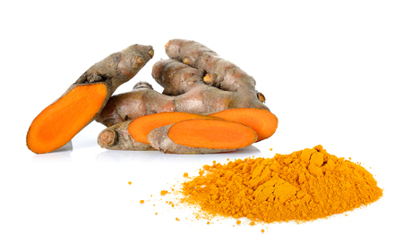 curcumin: Turmeric with powder turmeric isolated on the white background. Stock Photo