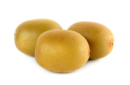 nourish: Yellow gold kiwi fruit isolated on the white background.
