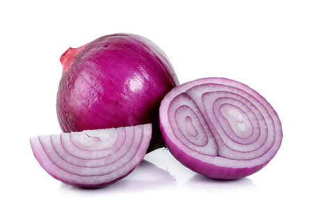 onion: red onion isolated on the white background .