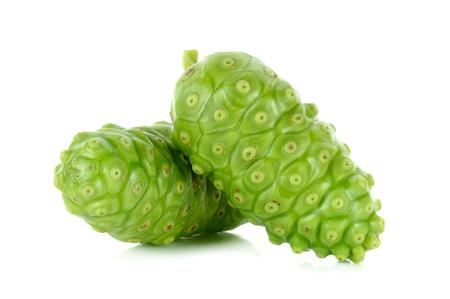 great morinda: Exotic Fruit - Noni isolated on the white background. Stock Photo