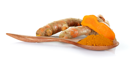curcumin: Turmeric isolated on the white background .