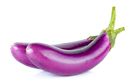 Purple eggplant isolated on the white background.