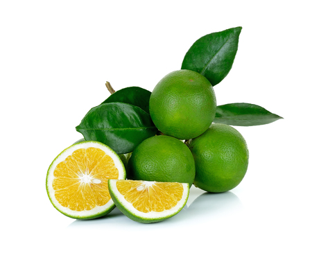 Citrus sinensis isolated on the white background. 스톡 콘텐츠