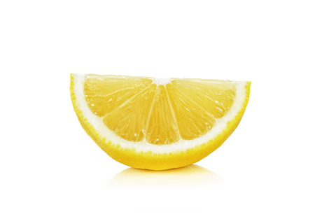 Sliced of lemon isolated on the white background. 스톡 콘텐츠