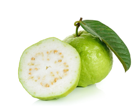exotic fruits: Guava fruit isolated on the white background.