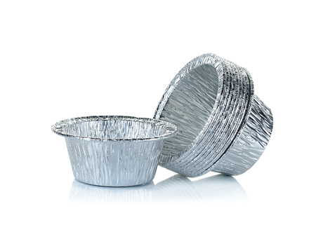 aluminium: Aluminium foil cup isolated on the white background.