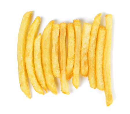 French fries isolated on the white background.