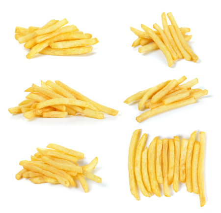french: French fries isolated on the white background.
