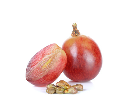 bunch of grapes: Red grape and seed isolated on the white background.