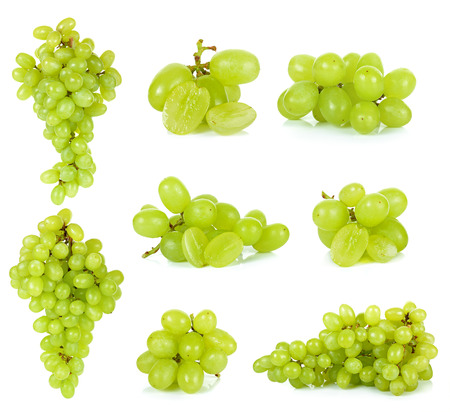 purple red grapes: Green grape isolated on a white background .