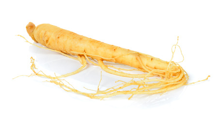 herbal background: Ginseng isolated on the white background . Stock Photo