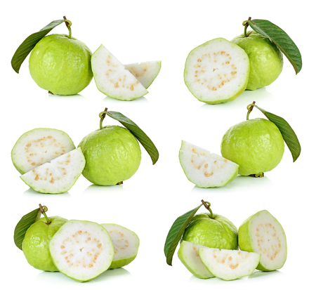 Set of Guava fruit isolated on white background.