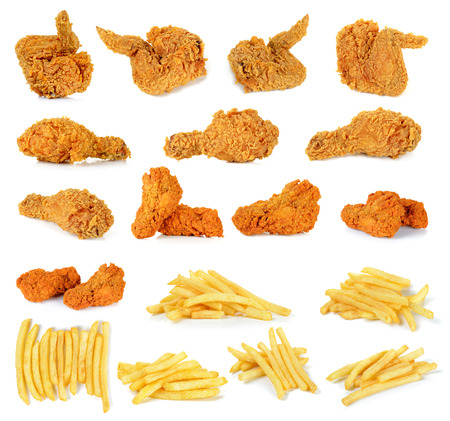 Set Fried chicken and French fries isolated on white background.