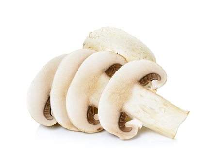 Sliced Champignon mushroom isolated on white background.